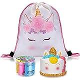 LittleBoo Unicorn Gifts Set: Jumbo Unicorn Squishies/ 4-Color Fluffy Slime/ Waterproof Unicorn Backpack – Unicorn Cake Set (Unicorn Cake)