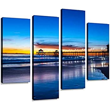 Huntington Beach Pier at Sunset Canvas Wall Art Hanging Paintings Modern Artwork Abstract Picture Prints Home Decoration Gift Unique Designed Framed 4 Panel