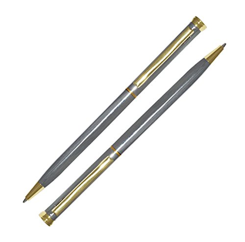 (2 Count Crescent-Ballpoint Pen, Slim Metal Pen, Twist-Action, 5.25