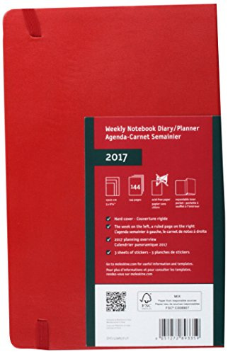 Moleskine 2017 Weekly Notebook, 12M, Large, Scarlet Red, Hard Cover (5 x 8.25)
