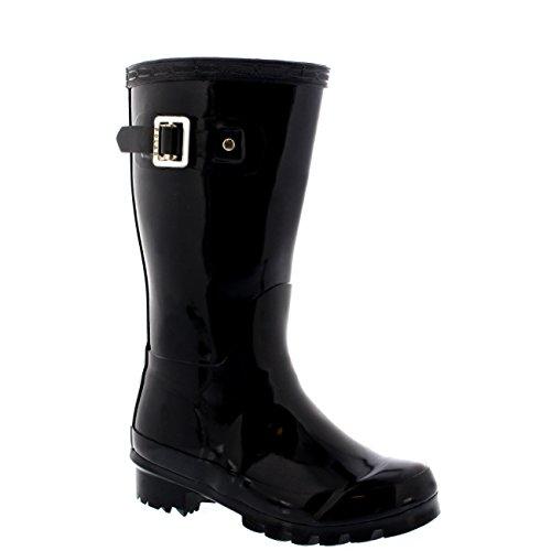 [Unisex Kids Original Gloss Muck Rubber Wellingtons Garden Rain Snow Boot - 3 - BLA35 BL0195] (Black Kids Boots)