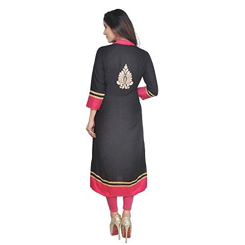Chichi Indian Women Kurta Kurti 3/4 Sleeve Medium Size Plain with Side-Front Cut Straight Black Top by CHI (Image #4)