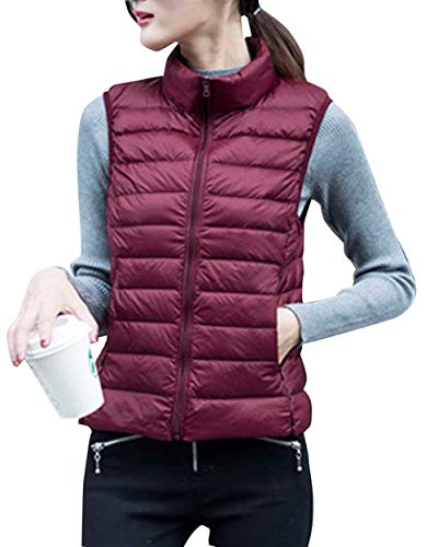 Gilet Matelass Femme Automne Elgante Oversize Gilet en Duvet Legere Fashion Vtements Casual Warm Sleeveless Jacket Manteau Vest Outerwear Burgunderrot