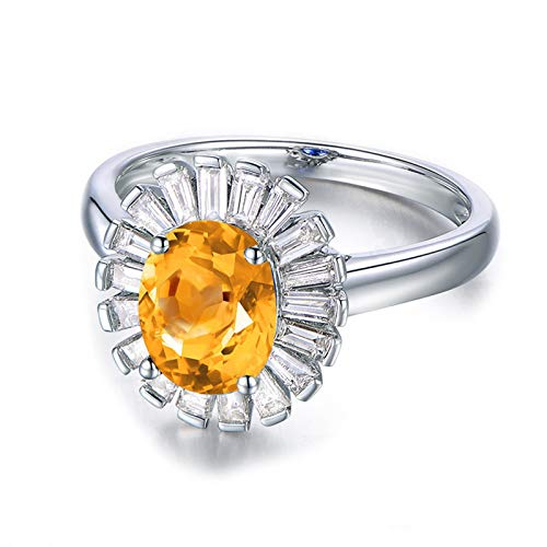 Daesar Anniversary Rings Sterling Silver Ring Cubic Zirconia Rings Oval Cut 8x6MM Citrine Ring Band Size 10.5