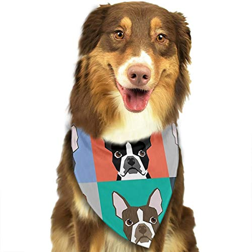 ZZJIAK Dog Bandana Scarf Boston Terrier Dog Cartoon Triangle Bibs Printing Kerchief Set Accessories Dogs Cats Pets -