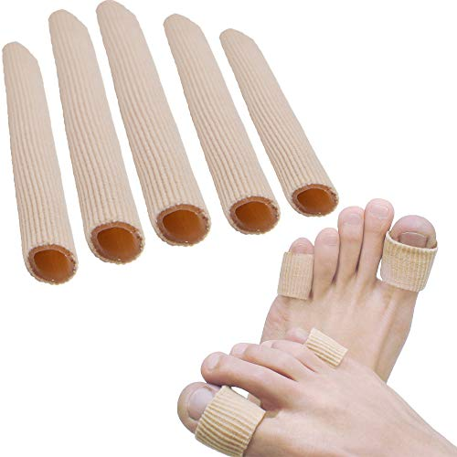 Sumifun Open Toe Tubes Fabric Gel Lined Sleeve Protectors for Corns, Blisters, Hammertoes (Toe Tubes)