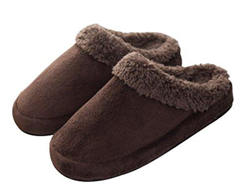 Cattior Heren Indoor Slaapkamer Warme Slippers Pluizige Slippers Huis Schoenen Bruin