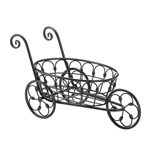 - Honeybeloved Cart Plant Pot Stand Planter Yard Statue French Country Black Iron Scroll Flower New