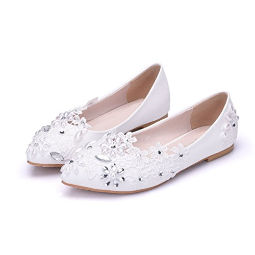Minitoo Ladies Rhinestones Flowers Satin Bridal Wedding Flats Fashion Dress Ballet White-Flat nCcU3r
