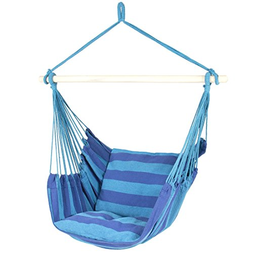 Hammock Hanging Rope Chair Porch Swing Seat Patio Camping Portable Blue - Angeles Stores The Grove Los