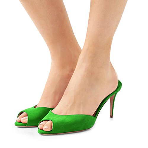 FSJ Women Faux Suede High Heel Mules Peep Toe Slip On Casual Sandals Slide Shoes Size 4-15 US Green
