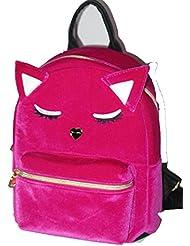 Betsey Johnson Fuchsia Velvet Black Leather Cat Face Backpack Shoulder Bag