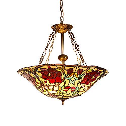 (Tiffany Hanging Lamp Round Pastoral Rustic Stained Glass Pendant Light Vintage Design Living Room Dining Room Veranda Mediterranean Corridor Balcony Attachments Decoration Ceiling Lighting E27)
