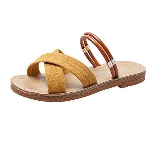 (2019 Summer Women's Retro Open Toe Shoes Fashion Flat Sandals Beach Slippers Roman Beach Shoes (Yellow, Size:39= US:7))