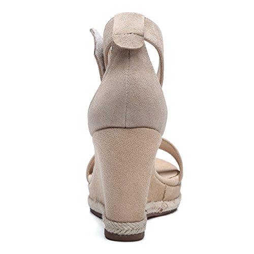 1TO9 Womens Hook-and-Loop Wedges Platform Lambskin Platforms Sandals MJS02703 Apricot 80fri
