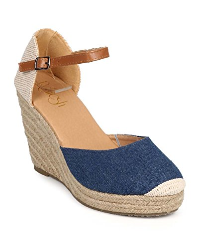 Refresh DI94 Women Denim Mix Media Cap Toe Ankle Strap Espadrille Wedge - Jean (Size: 7.5)