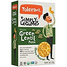 Tolerant - Organic Green Lentil Pasta, Simply Legumes, Elbow Macaroni,  8 Oz (Pack of 6)