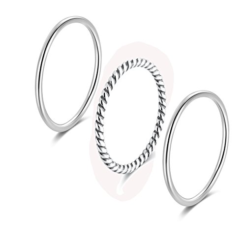 (SILBERTALE 925 Sterling Silver Stacking Minimalist Midi Above Knuckle Pinky Finger Rings Bands for Women Girls 3pcs Set Size 5)