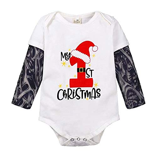 Hooyi Unisex Baby Xmas Clothes Tattoo Sleeve Christmas Costume Romper Newborn Jumpsuits Boy Bodysuits Clothing Girl Shirts