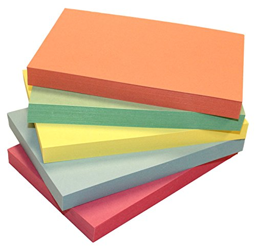 Debra Dale Designs - 4'' x 6'' Inch Blank Unruled Color Index Cards - Premium 140# Extra Heavy Thick Index Card Stock - 5 Colors - 50 Note Cards Per Color - More Colors For More Sorting Choices by DEBRADALE DESIGNS