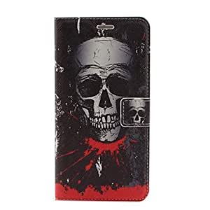 PG Skull Pattern PU Leather Case with Stand and Card Slot for iPhone 6 Plus