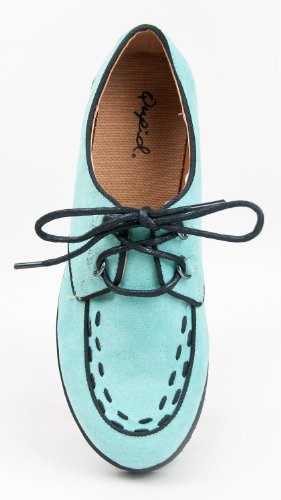 Qupid Tiki-06 Lacet Plate-forme Plateforme Deux Tons Creeper Chaussure Menthe Suede Pu