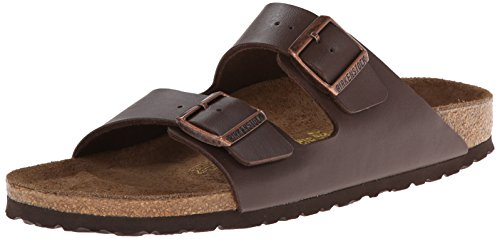 Birkenstock Women's Arizona  Birko-Flo Dark Brown Birko-flor Sandals - 42 R EU (US Men EU's 9-9.5, US Women EU's 11-11.5)