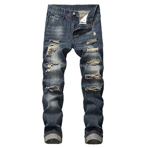 (IHGTZS Pants for Men, Men's Fashion Slim Fit Personality straightl Casual Ripped Jeans Denim Pants Dark Blue)