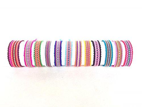Audomna Shop Thai Bracelets Handmade Braided Thread Colorful Color Set 12 (F0049).