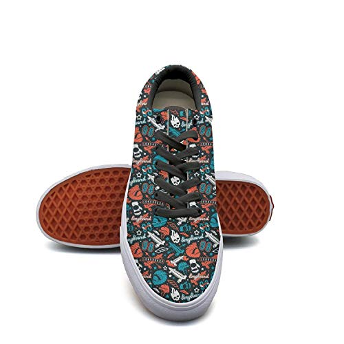 Sernfinjdr Casual lace-up Canvas Shoes for Men Longboarding Skull Print Trendy Golf Sneakers