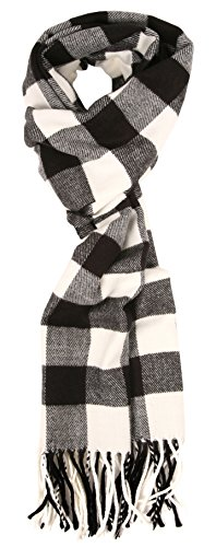 (Love Lakeside-Women's Soft Cashmere Feel Winter Plaid Scarf (Black and White Buffalo Check) )