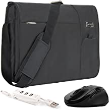 "VanGoddy Jet Black Executive Anti-Theft Laptop Messenger Bag w/ Wireless Mouse and USB HUB for HP EliteBook / ProBook / ChromeBook / ENVY / OMEN / Pavilion / Stream / 11"" to 15inch"
