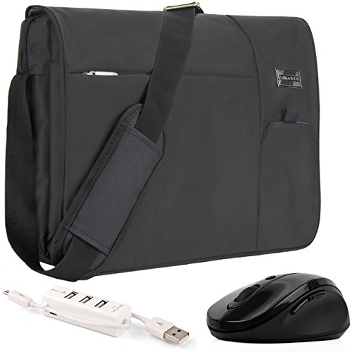 VanGoddy Jet Black Executive Anti-Theft Laptop Messenger Bag w Wireless Mouse and USB HUB for HP EliteBook ProBook ChromeBook ENVY OMEN Pavilion Stream 11