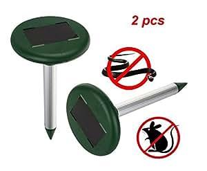 2pcs ultrasonic Electronic Drive Away Mole Rat Deterrent Mouse Snake Insect Repel equipment para jardín exterior Garden Zone eficaz de aproximadamente 800metros cuadrados