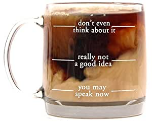 Don't Even Think About It Funny Glass Coffee Mugs for Mornings -13 Oz - Go Away Until I've Had My Caffeine Mug - The Gift for Coffee Lovers.
