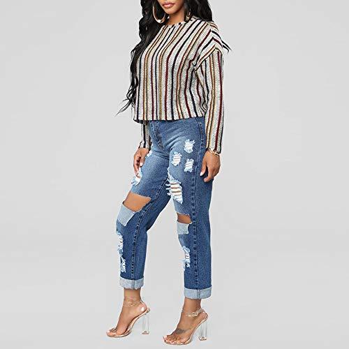 Pantalon Taille Bleu Grande Femme Pantalon Hole Poches Denim Jeans Daily conqueror Ripped avec nOwYpSwq