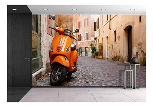 wall26 - Old City Street with Motorbike in Rome, Italy. On Sunny Autumn or Spring Day - Removable Wall Mural | Self-Adhesive Large Wallpaper - 100x144 inches