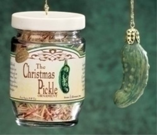 Roman 2-Piece Exclusive Christmas Pickle and Decorated Glass Jar Hanging Ornament, 1.5-Inch (Small Pickle Ornament)