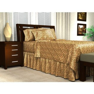 Leopard Satin Sheets - Luxury Full Size Leopard Satin Fitted Sheet