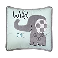 Lambs & Ivy Yoo Hoo Wild One Elephant Decorative Pillow, Blue/Gray