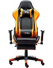 Ergonomic Gaming Chair with Headrest and Lumbar Massage Support,Racing Style PC Computer Chair Height Adjustable Swivel with Retractable Footrest Executive Office Chair