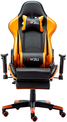 EDWELL Computer Gaming Chair, Height Adjustable Swivel PC Chair with Retractable Footrest Headrest and Lumbar Massager Cushion Support Leather Reclining Executive Office Chair (Orange)