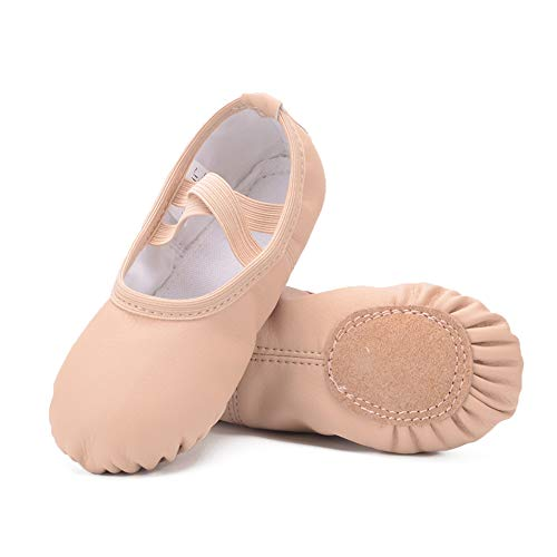 Ruqiji Leather Ballet Shoes for Girls/Toddlers/Kids/Women, Full Sole Leather Ballet Slippers/Dance Shoes Nude (D Roses Shoes Youth)