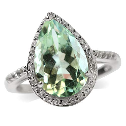4.31ct. 14x9MM Natural Pear Shape Green Amethyst & White Topaz 925 Sterling Silver Cocktail Ring Size 8 ()