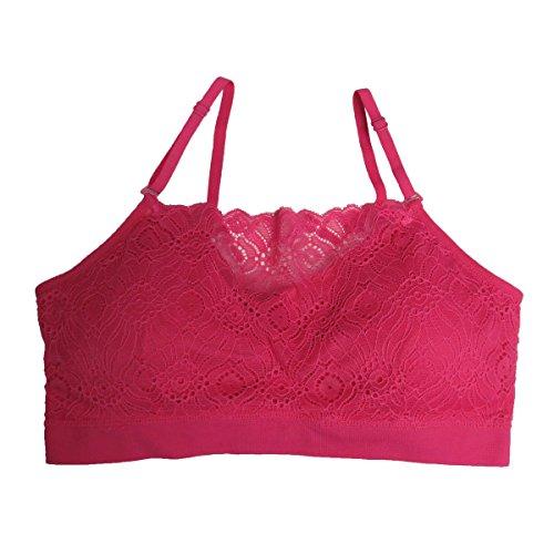 Coobie Seamless Lace Coverage Bra, Hot Pink (Pink Bra Lace Hot)