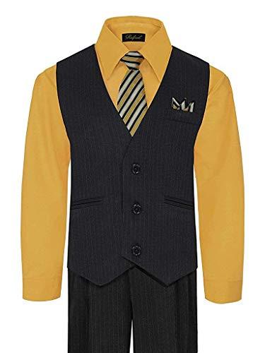 iGirldress Big Boys' Special Occasion Pinstripe Vest Set Black/Mustard ()