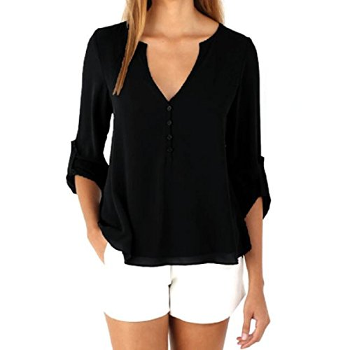 TOPUNDER Womens Loose Long Sleeve Chiffon Casual Blouse Shirt Tops Fashion Blouse (XXL, Black) from TOPUNDER
