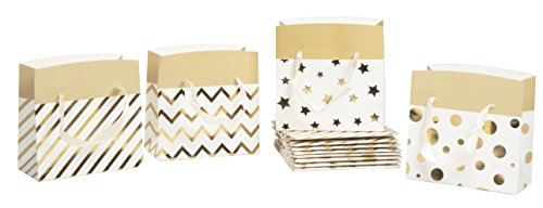 Gift Bag Box - 12-Pack Metallic Gold Foil Gift Wrap Bags, Party Favor Bags for Birthday, Baby Shower, Wedding, 4 Designs, 7 x 4.7 x 3.5 inches