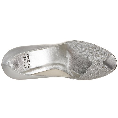 Stuart Weitzman Women's Chantelle Peep-Toe Pump Aluminum outlet how much clearance the cheapest wUBFvJo1FK