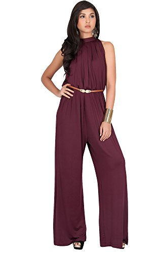 KOH KOH Plus Size Womens Sexy Sleeveless Halter-Neck Wide Leg Pants Cocktail Overall Long Work Day Suit Pant Suits Pantsuit Playsuit Jumpsuit Jumpsuits Romper Rompers, Maroon Wine Red 2XL 18-20 ()